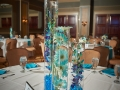 Tall blue stone centerpieces