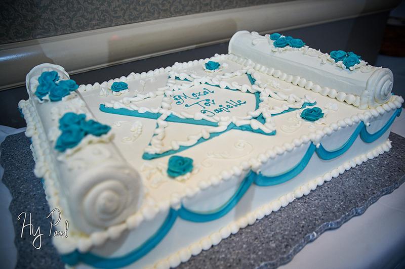 Bat Mitzvah cake, blue icing