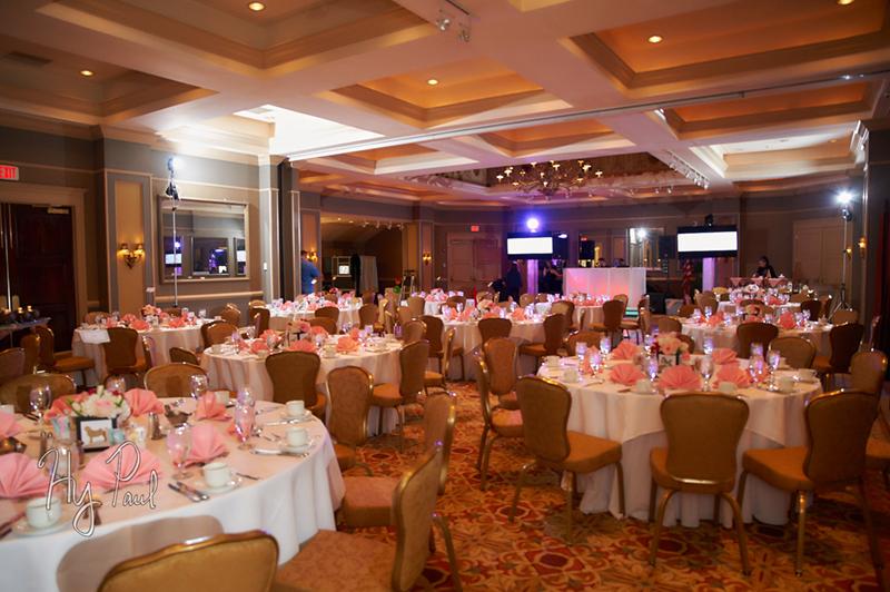 Ballroom set, pink napkins, entertainment and stage
