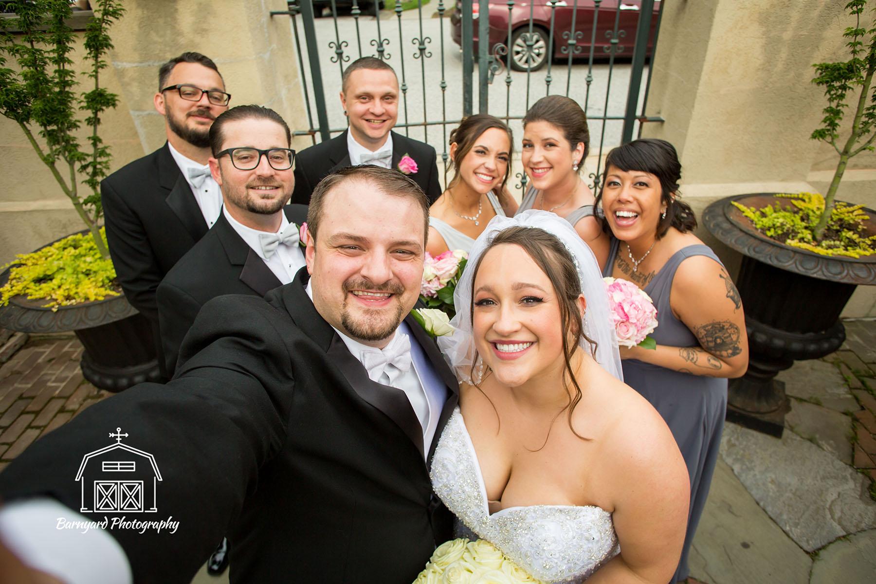 Courtyard Wedding Party Selfie!