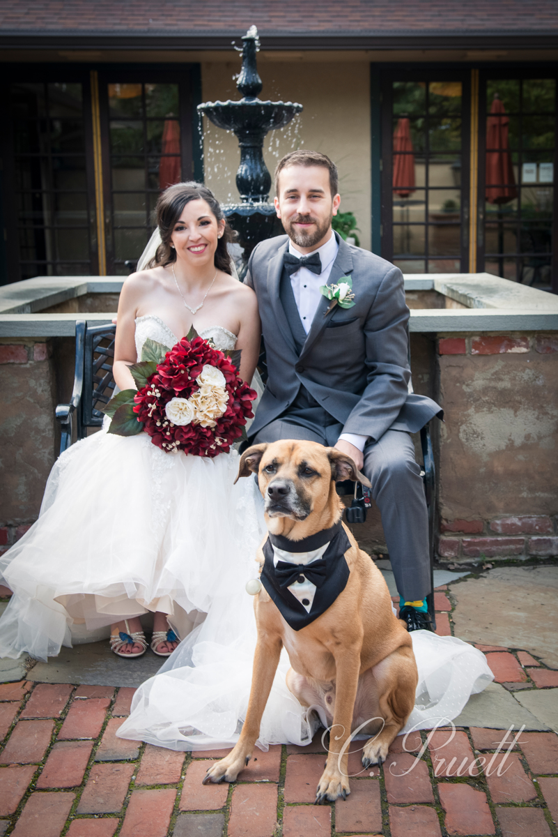 Bride and Groom with Man's Best Friend, their dog