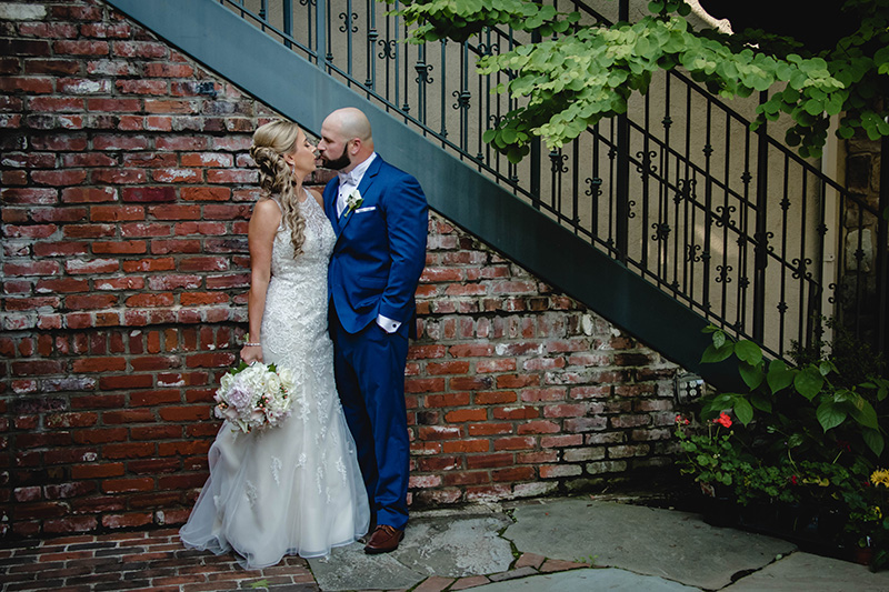 Bride & Groom at the Courtyard Staircase