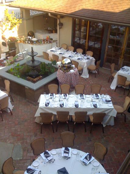 Courtyard set for cigar dinner