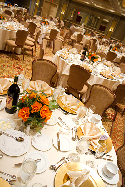 Wedding Setup with Orange Flowers