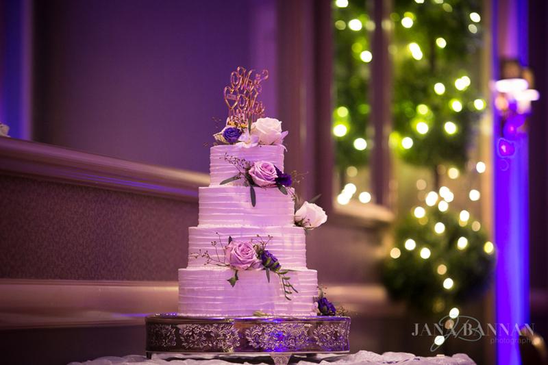 White cake, purple flowers