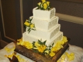 Square Layer Cake with Yellow Flowers