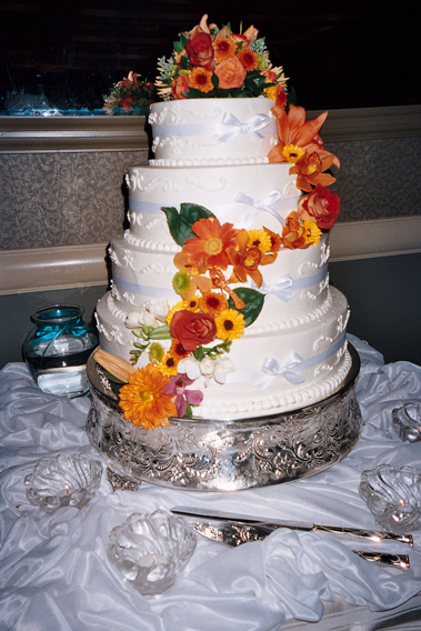 Cascading Orange Flowers Cake