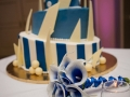 Blue-themed angled cake