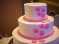 White cake with Pink Paw Prints